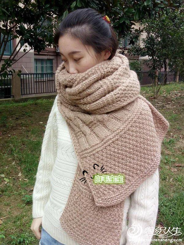 粗针织厚围巾