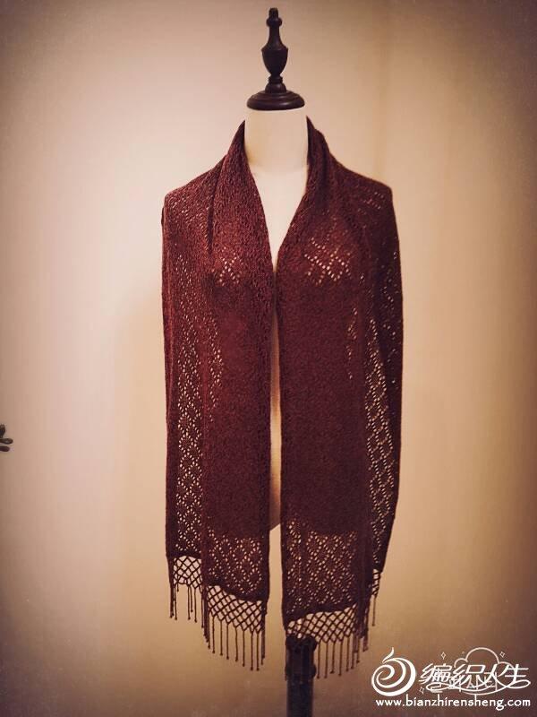 机织酒红色流苏长围巾
