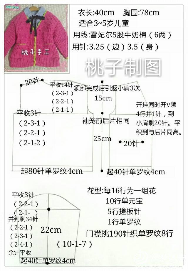 花型:每16行为一组花(10行单元宝 5行搓板针 1行单罗纹) 编织图解