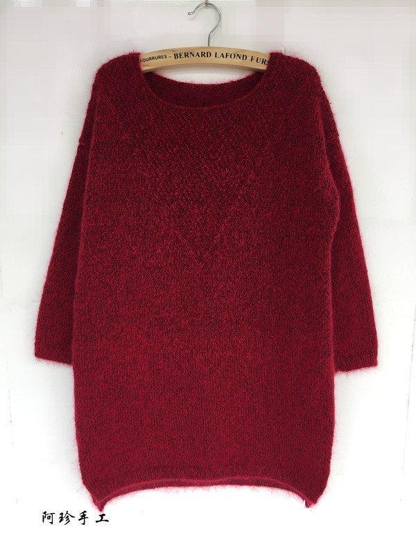 棒针女士中长款毛衣