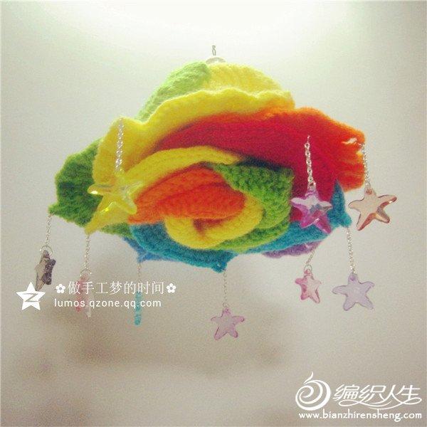 彩虹玫瑰钩针挂饰