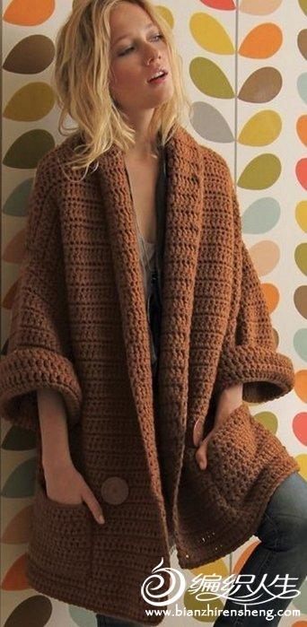仿欧美款时尚宽松休闲女士钩针外套毛衣