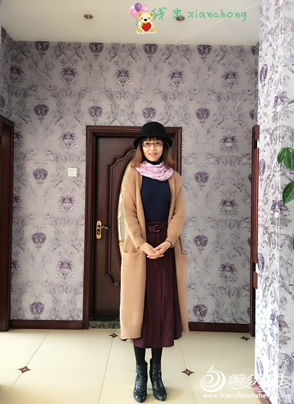 女士棒针羊驼大衣