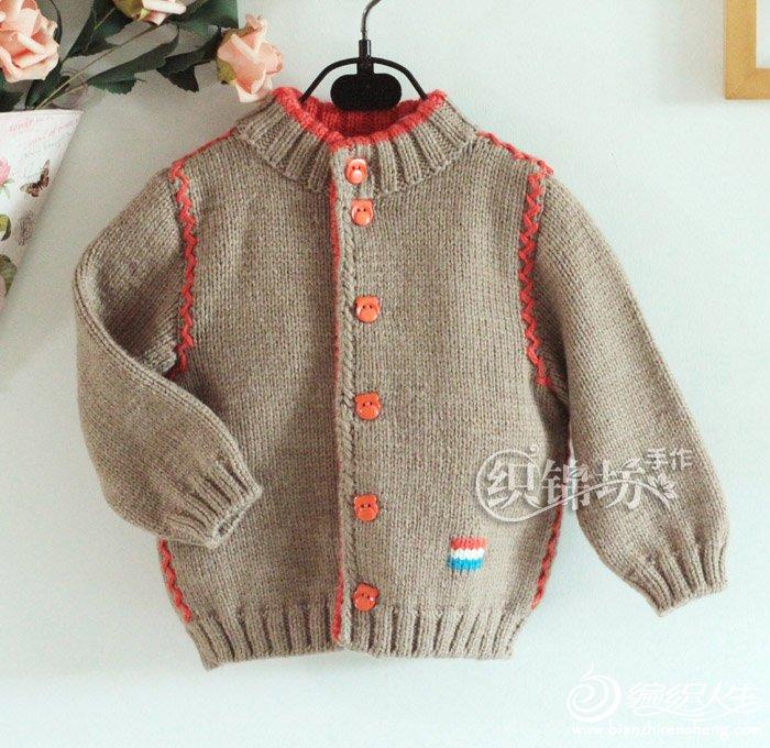 适合80-90cm宝宝的字母绣儿童棒针外套-编织教程-编织