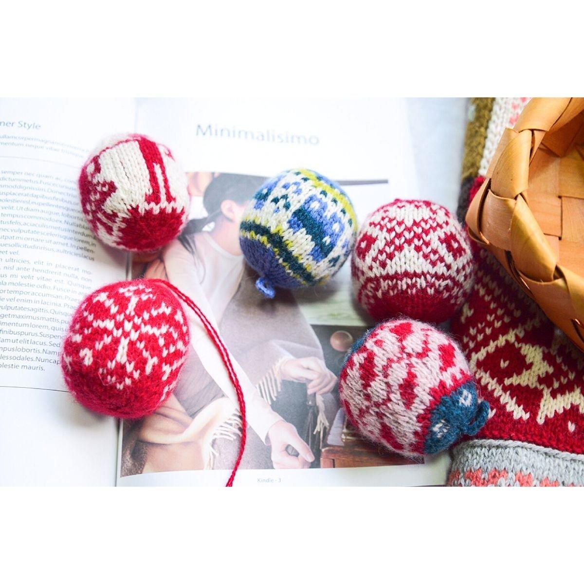 棒针编织毛线圣诞球