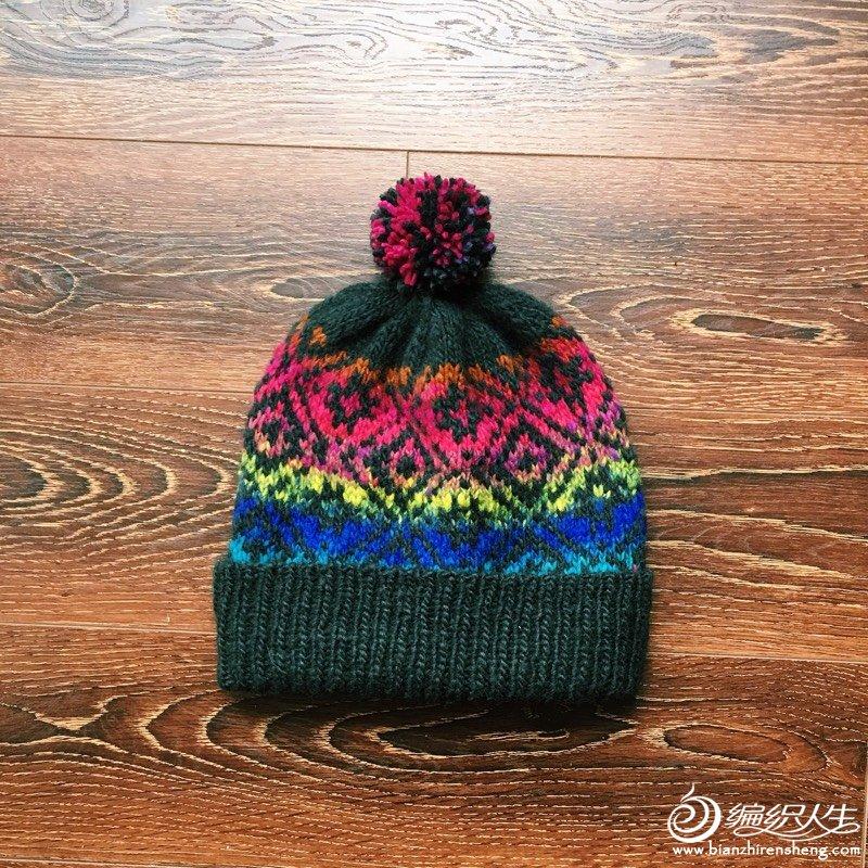 北欧风女士棒针段染提 帽子图解教程-编织教程-编织