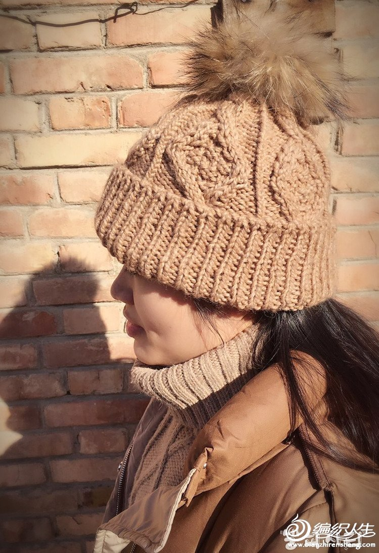 冬款棒针毛线帽