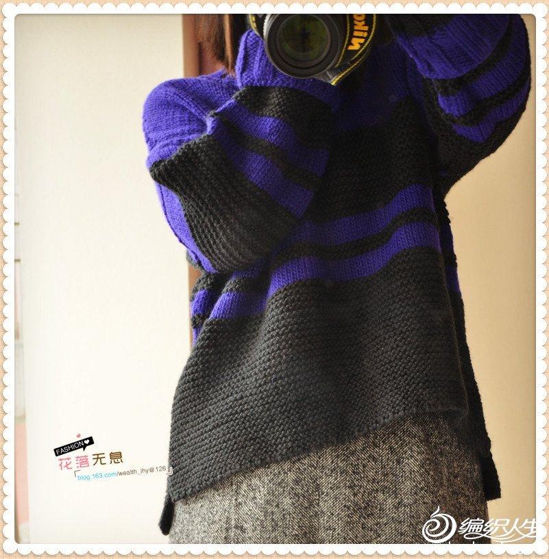 女士棒针阔袖毛衣