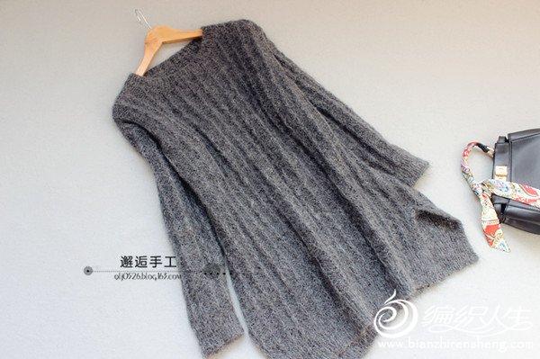 中性款棒针长款毛衣