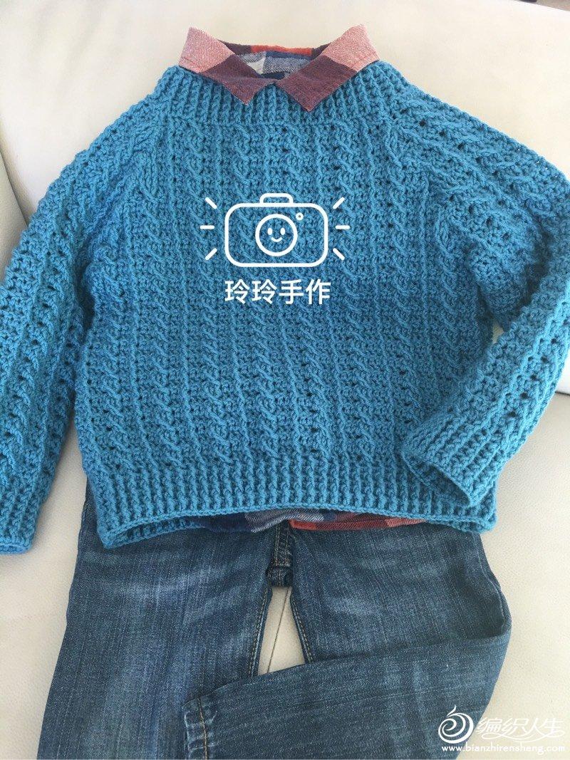 毛衣编织_男孩钩针麻花套头毛衣-编织教程-编织人生