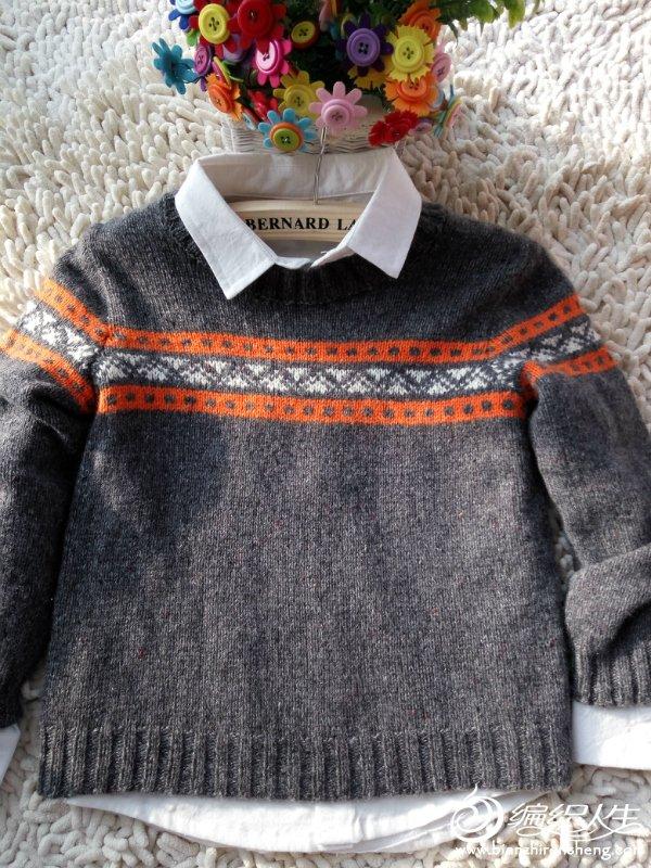 儿童棒针提花毛衣