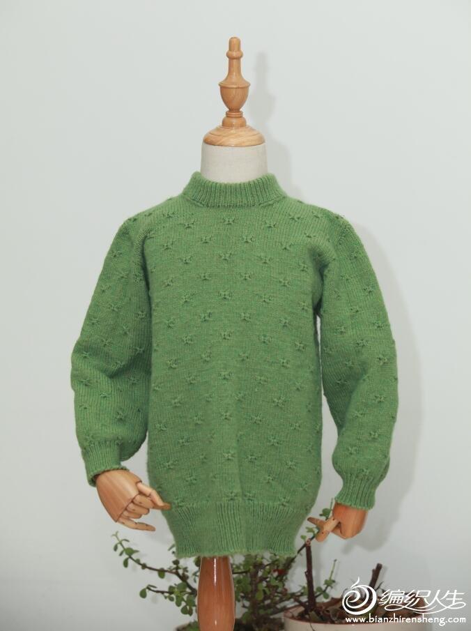 秋草绿儿童棒针毛衣款式