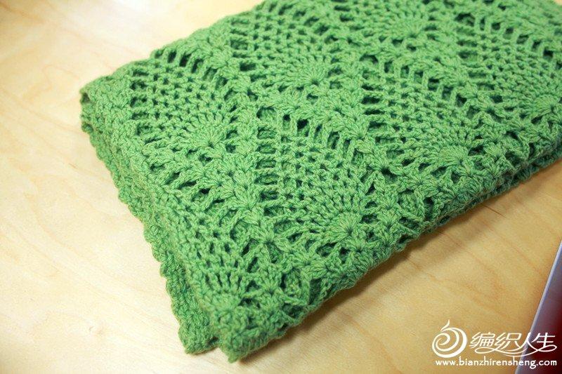 秋草绿钩针围巾