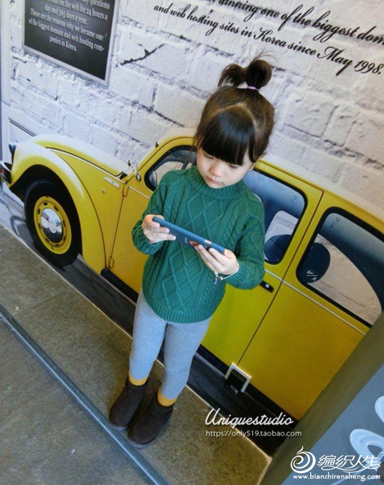 女童墨绿色毛衣