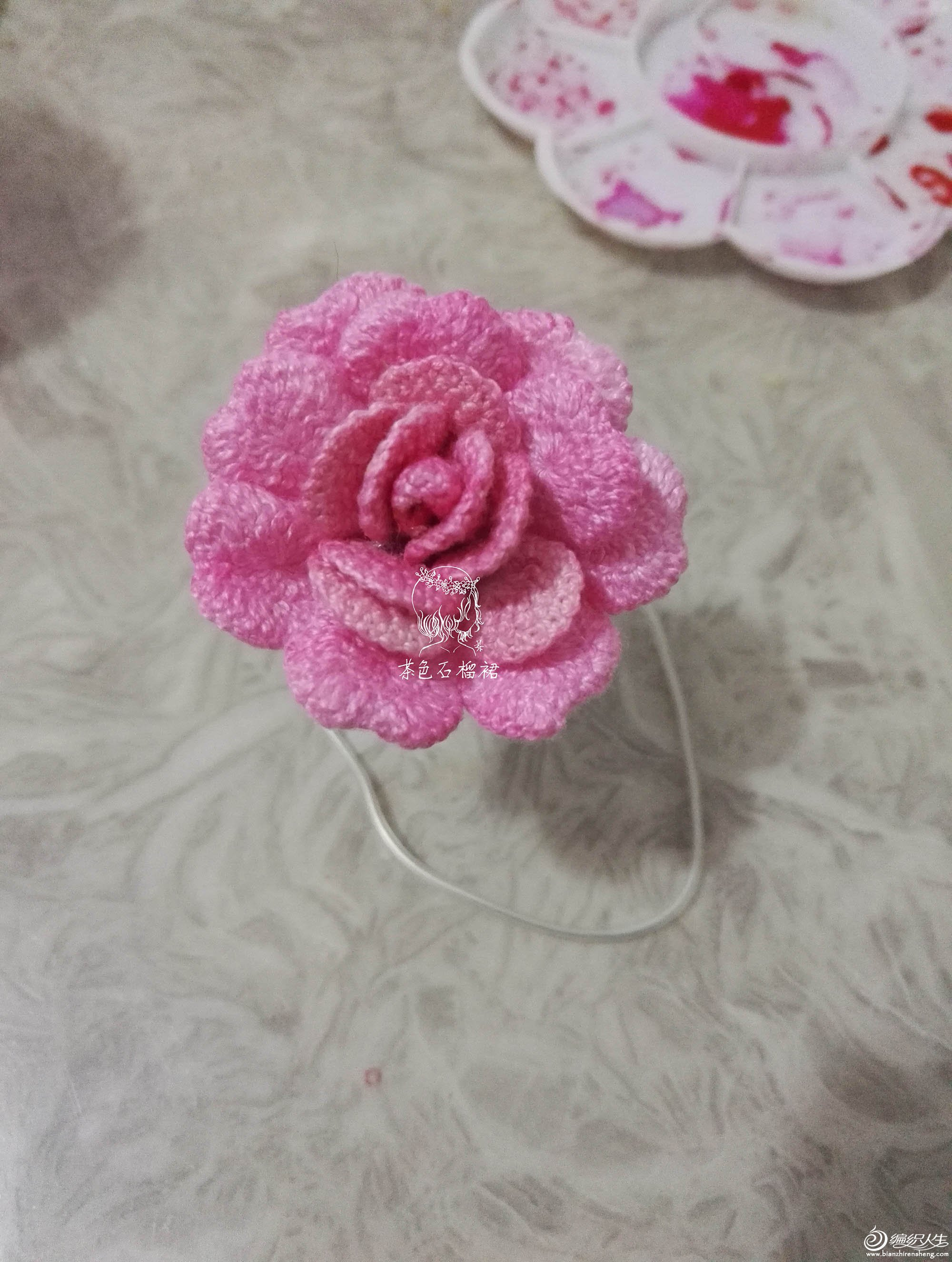 永生花造型应景玫瑰 3款钩针花卉图解(玫瑰花与小花)