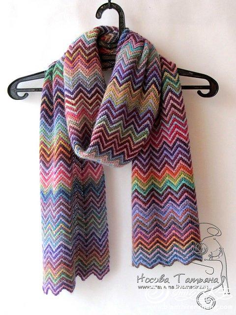 棒针波纹围巾