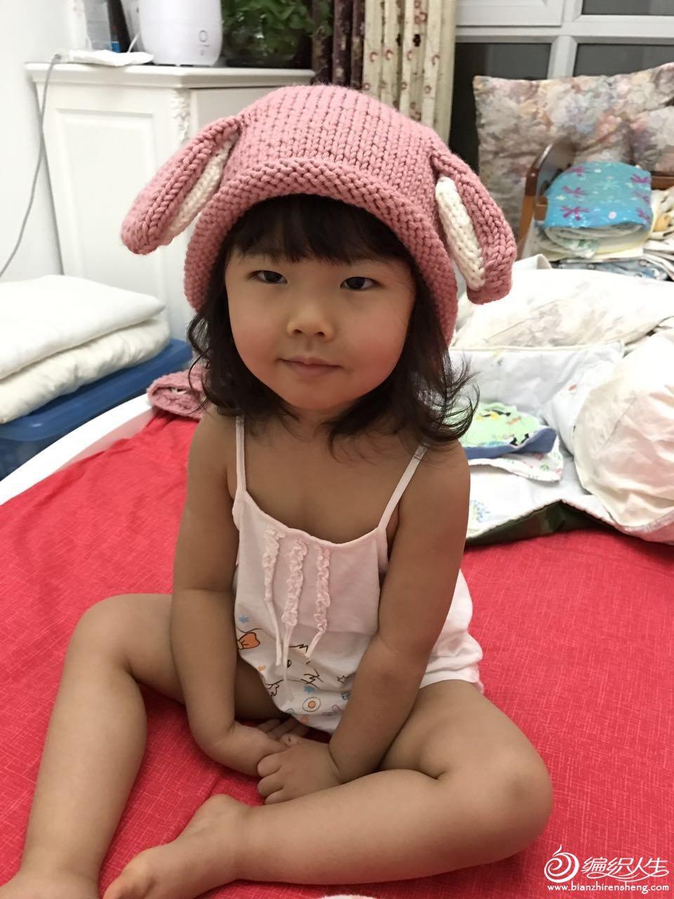 萌童兔耳毛线帽