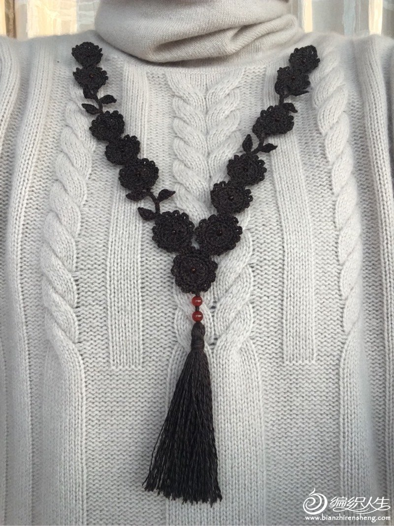 漂亮的钩针蕾丝毛衣项链图解-编织教程-编织人生