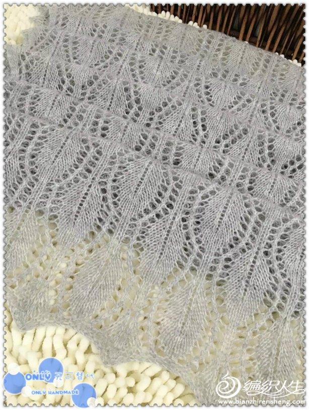 棒针蕾丝镂空花围巾