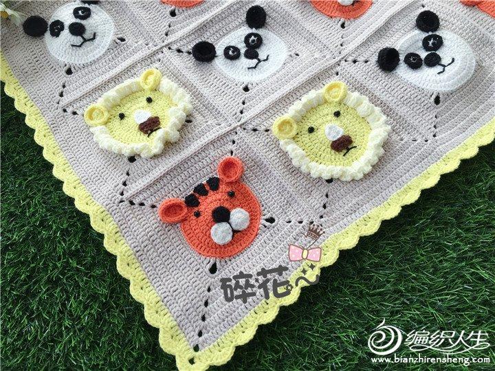 萌萌的动物图案钩针宝宝毯-编织教程-编织人生