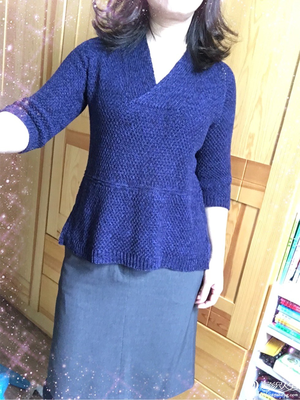 女士棒针V领修身毛衣