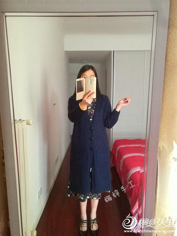 手工编织女士大衣