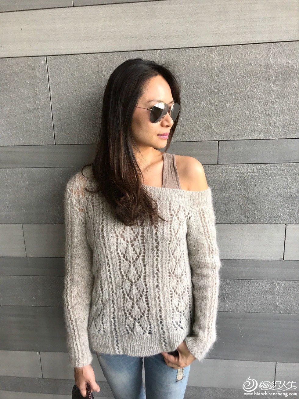 女士棒针镂空毛衣