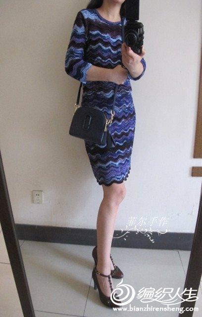 七分袖棒针连衣裙