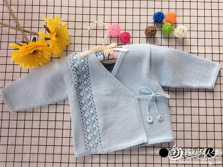 宝宝棒针系带和尚服毛衣