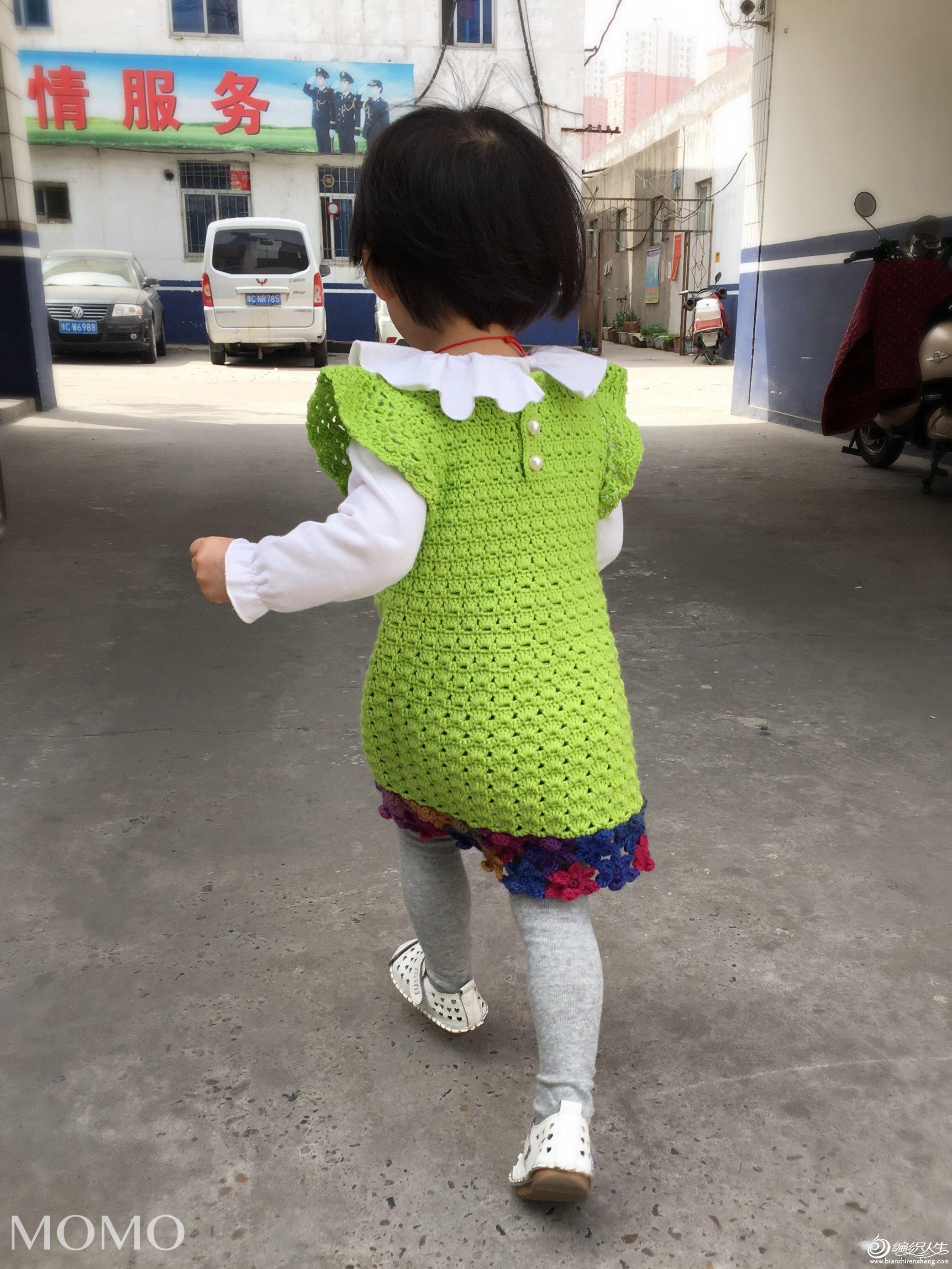 女童钩针A形公主范背心裙