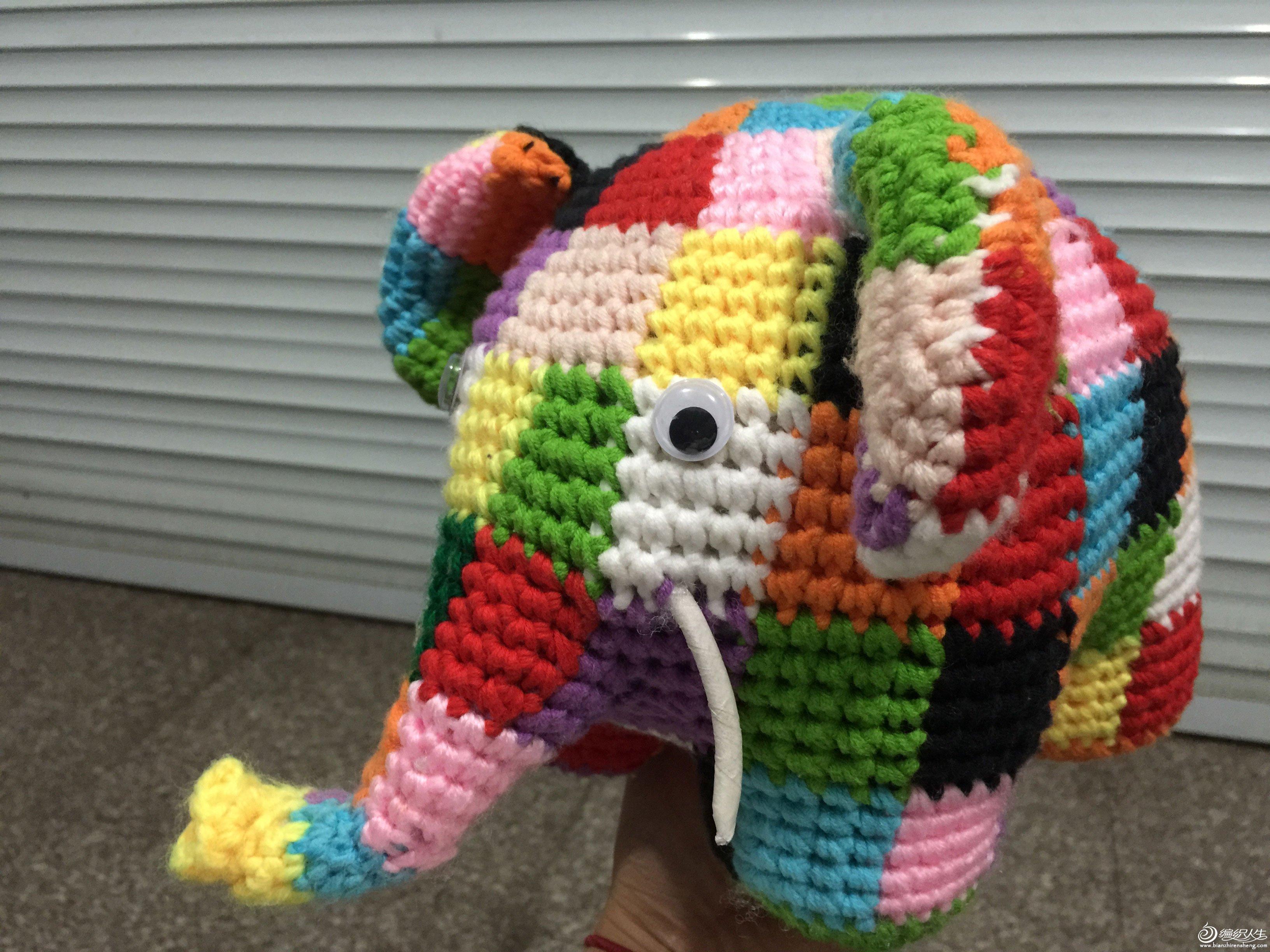 亲子手工毛线编格子大象