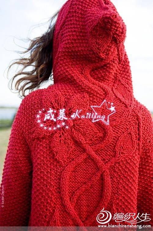 红色连衣开衫毛衣