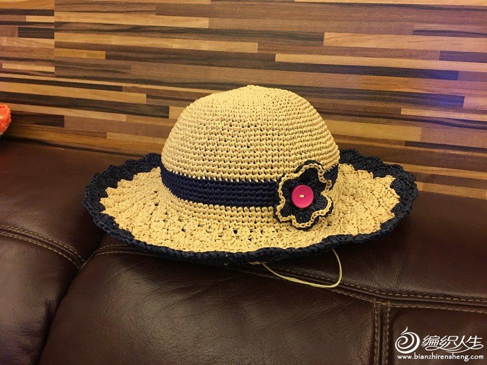 棉草钩针太阳帽
