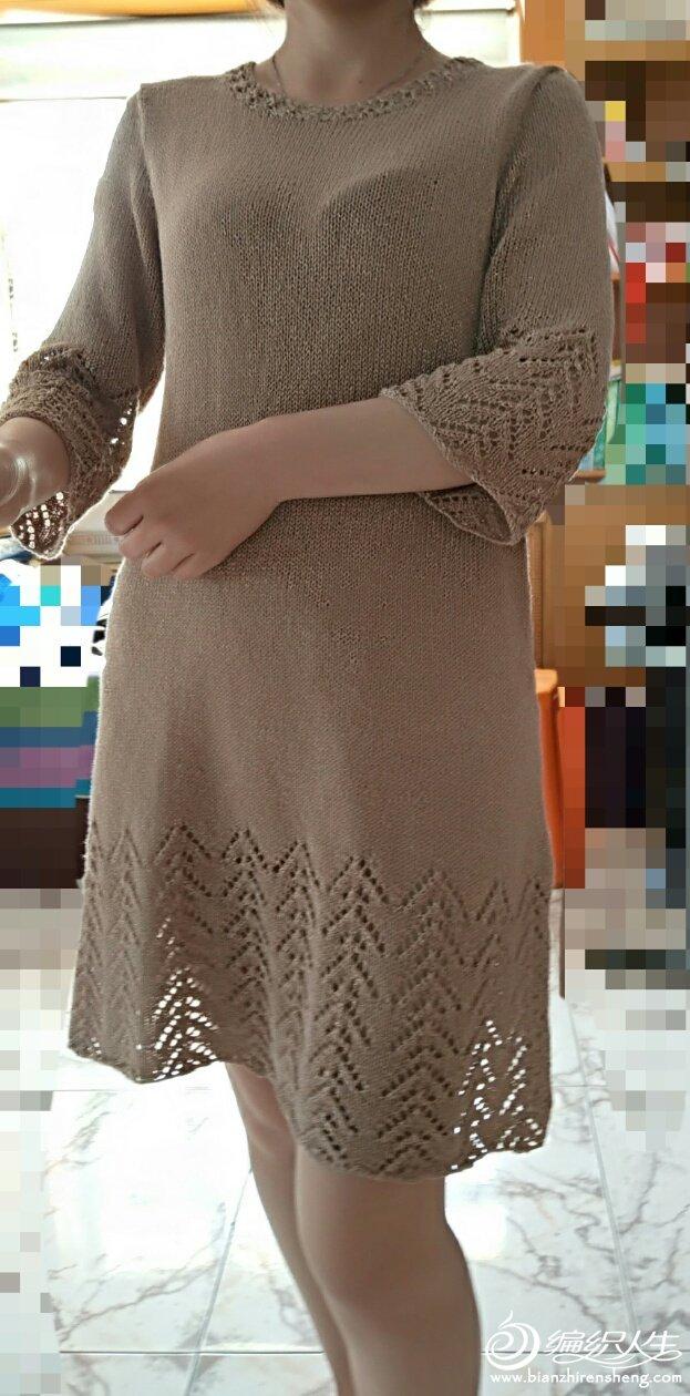 棒针中袖亚麻裙