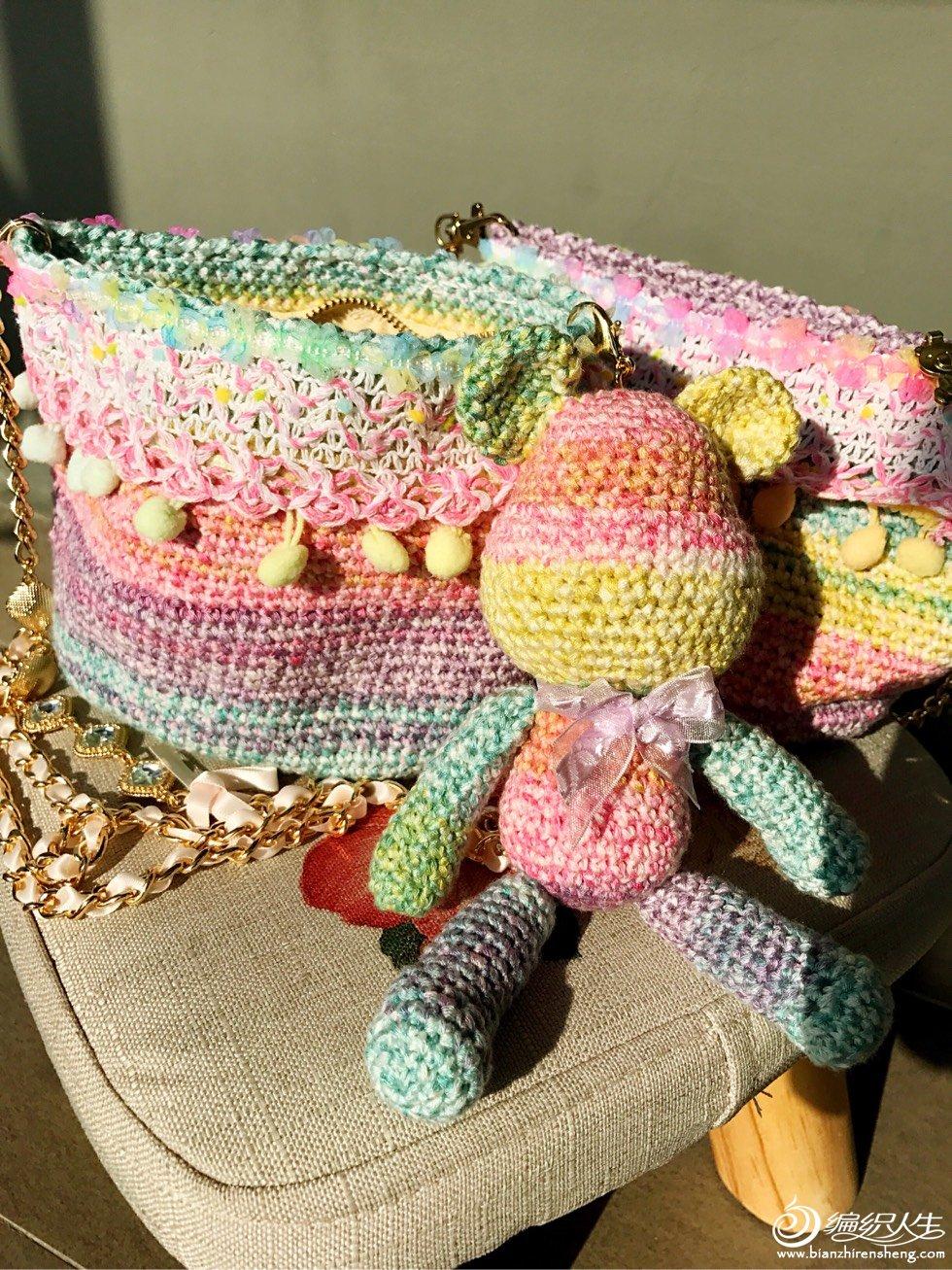 钩针彩虹玩偶包包
