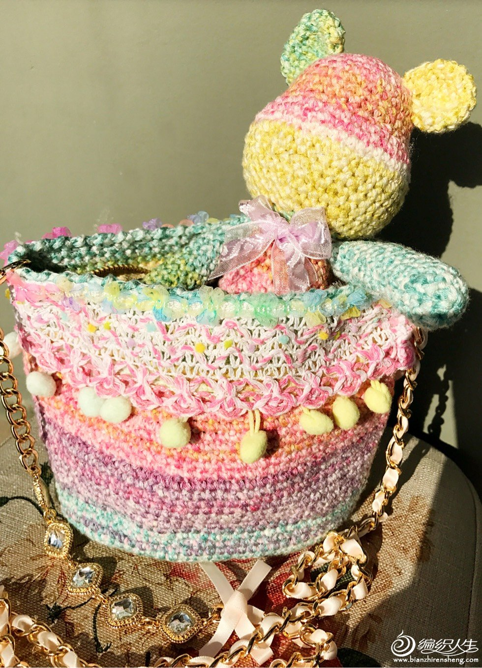 糖果色钩针织物