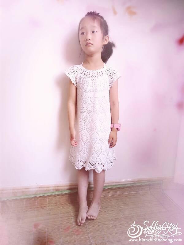 唯美公主裙 儿童钩针育克菠萝花连衣裙