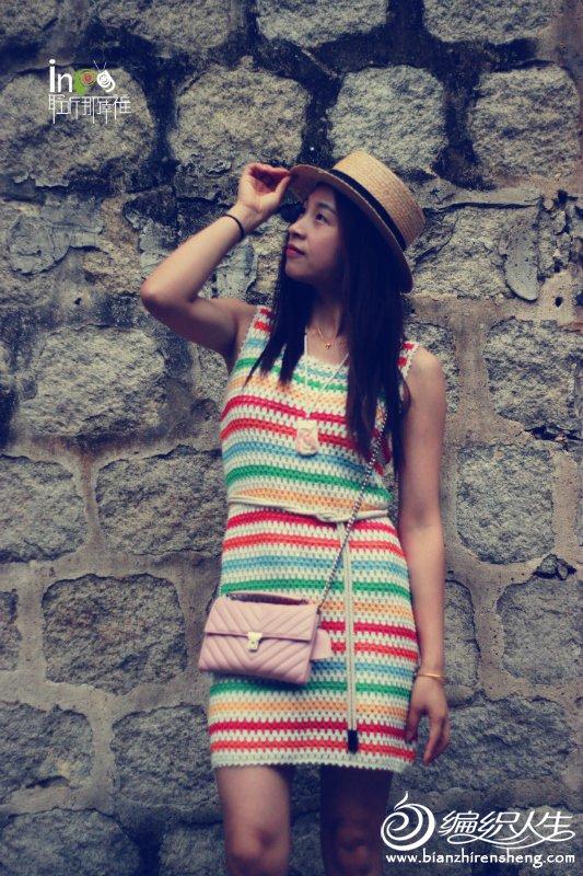 时尚钩针条纹背心裙
