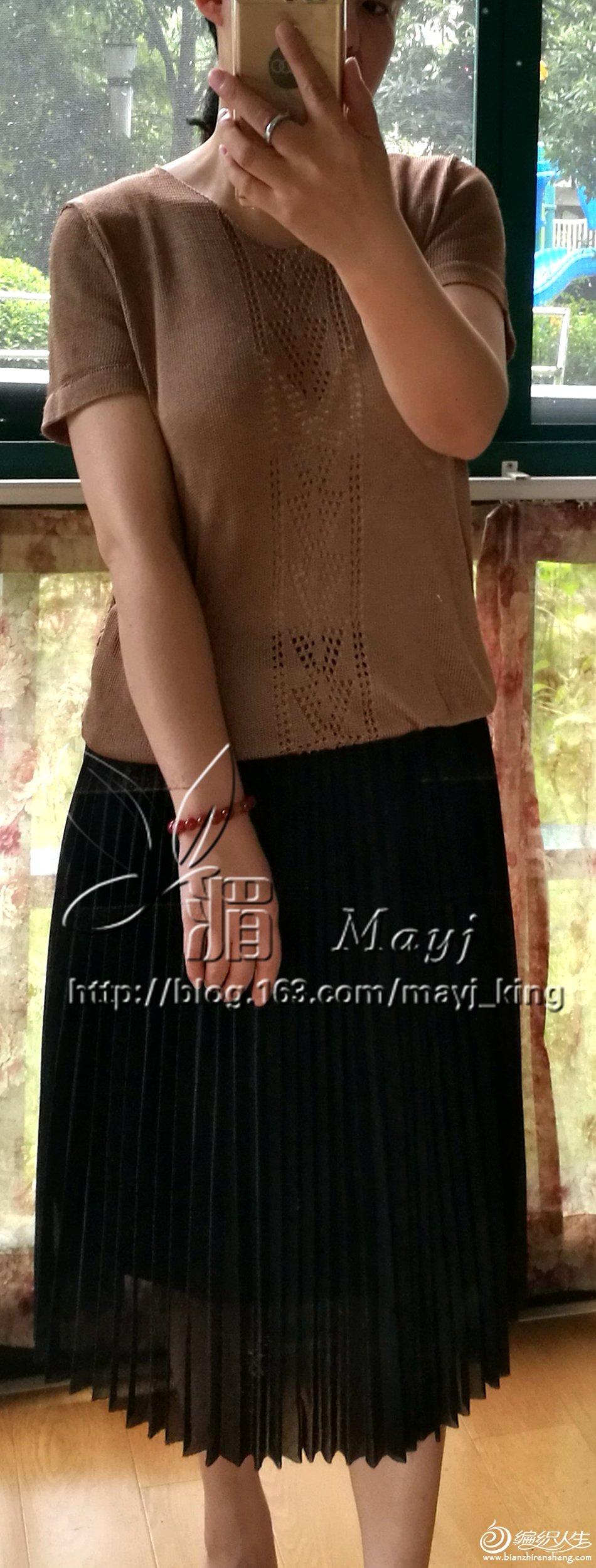 家用编织机机织短袖真丝衫