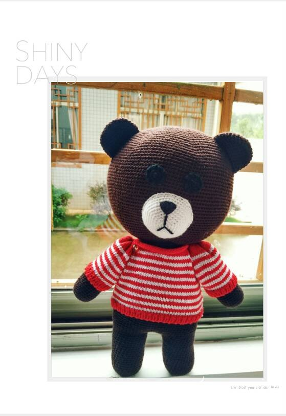 衣服可以穿脱的萌可爱钩针布朗熊钩法图解
