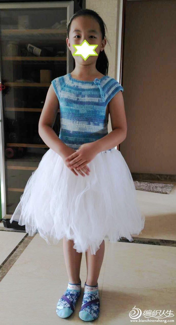 鉤紗結合兒童連衣裙