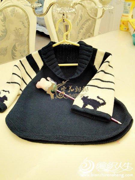 儿童棒针青果领毛衣