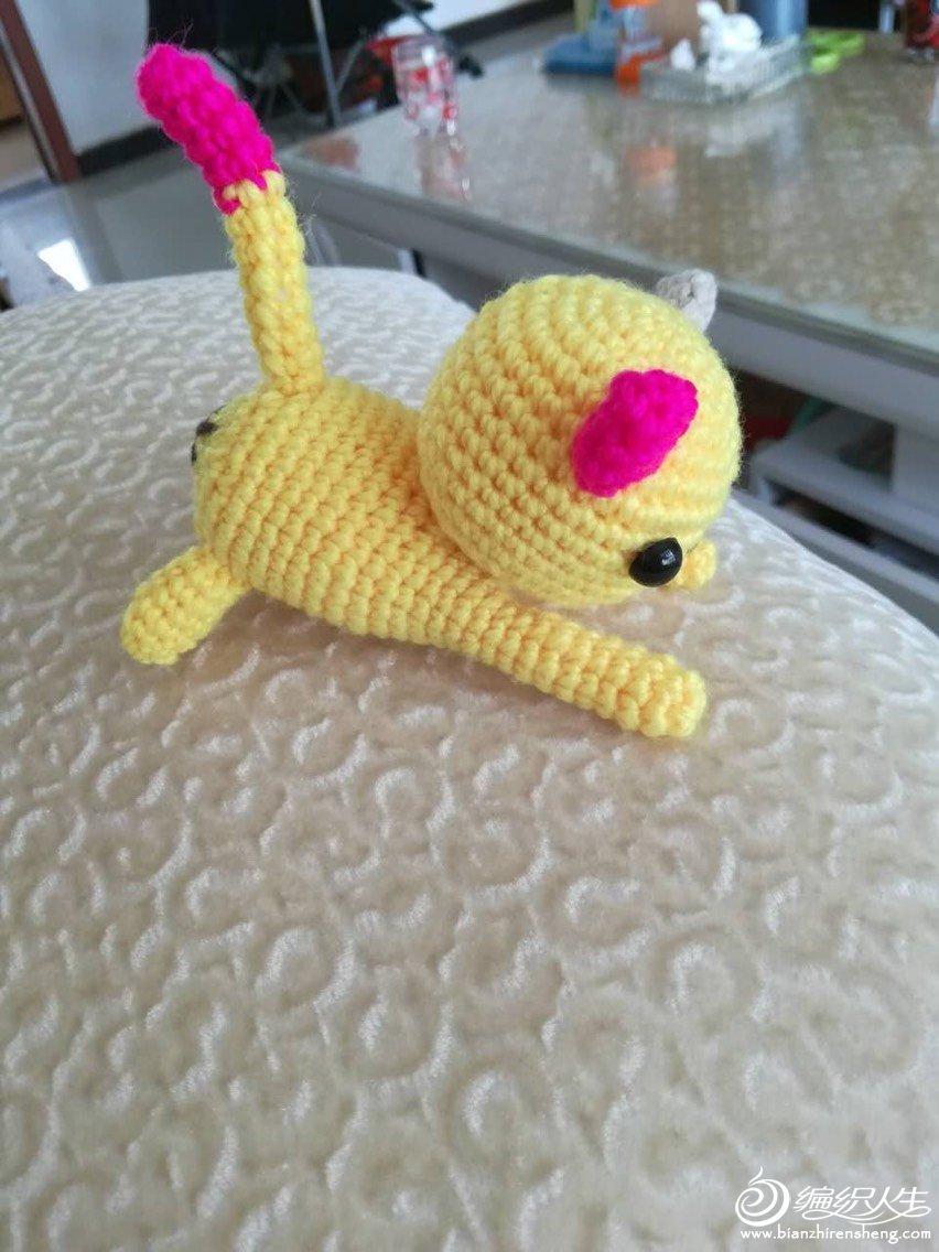钩针伸懒腰的猫