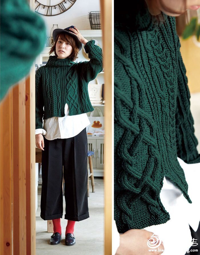 墨绿色女士棒针毛衣