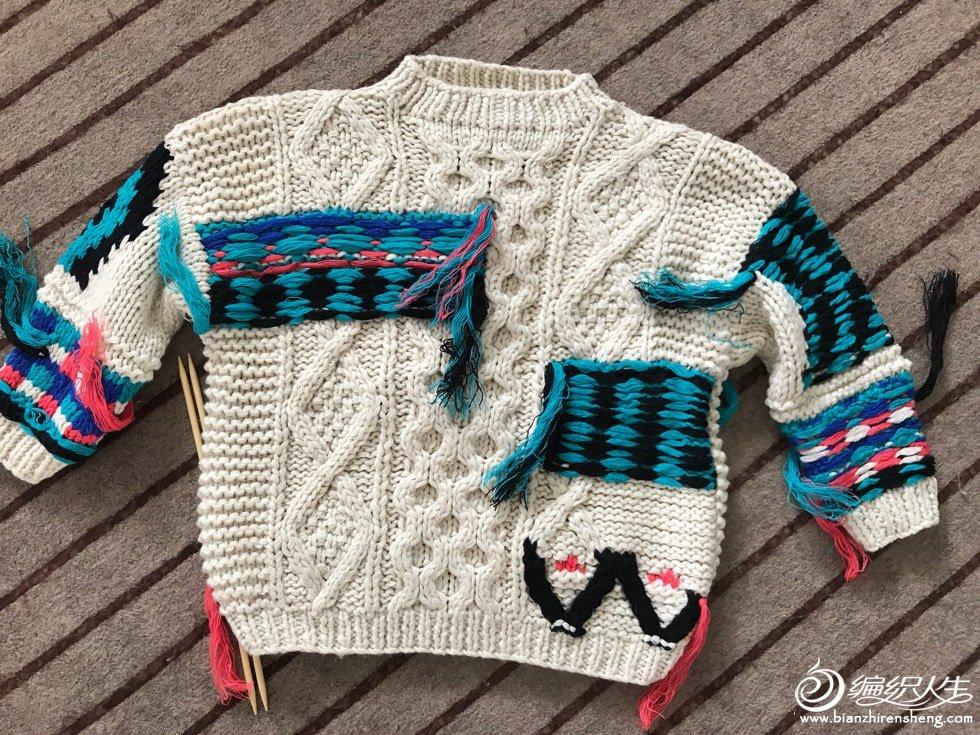 彩色毛线儿童棒针阿兰毛衣
