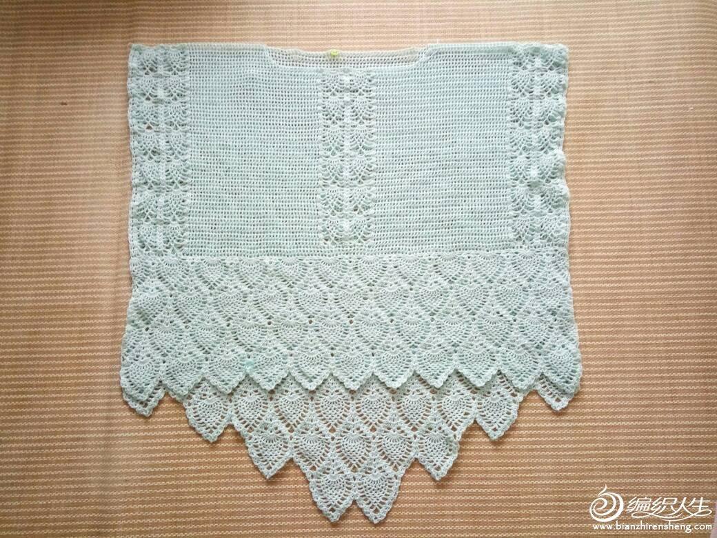 编织教程 不规则下摆女士钩针菠萝花宽松罩衫  第一眼看到这件衣服就