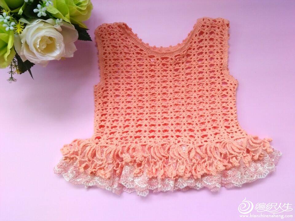 可以做纱裙款的儿童钩针流苏背心-编织教程-编织人生