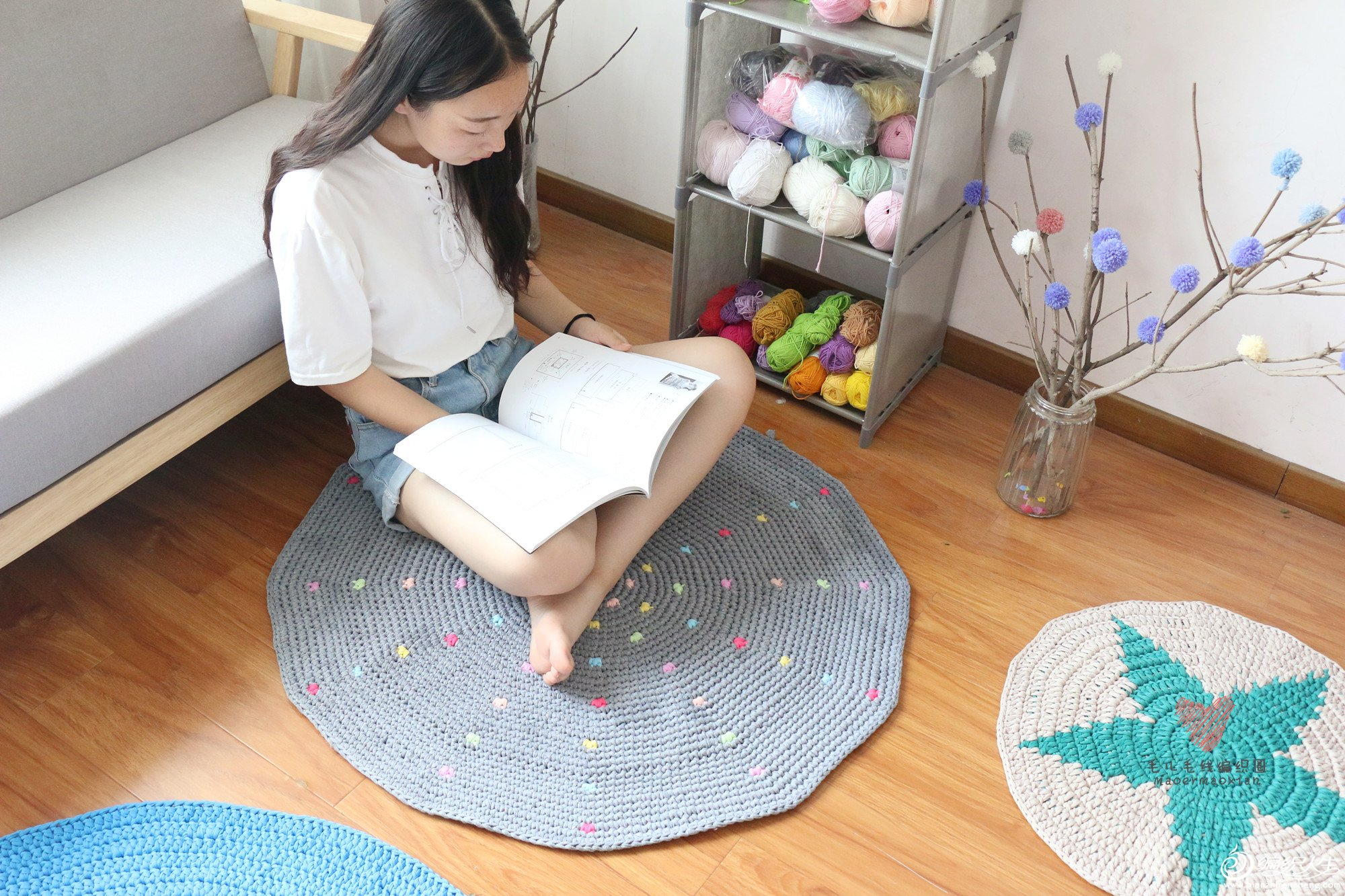 圆形钩针地毯
