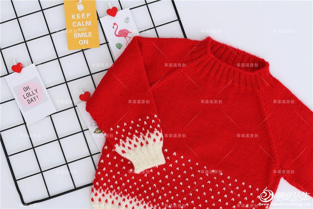 圣诞红棒针毛衣
