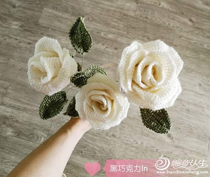 钩针白玫瑰